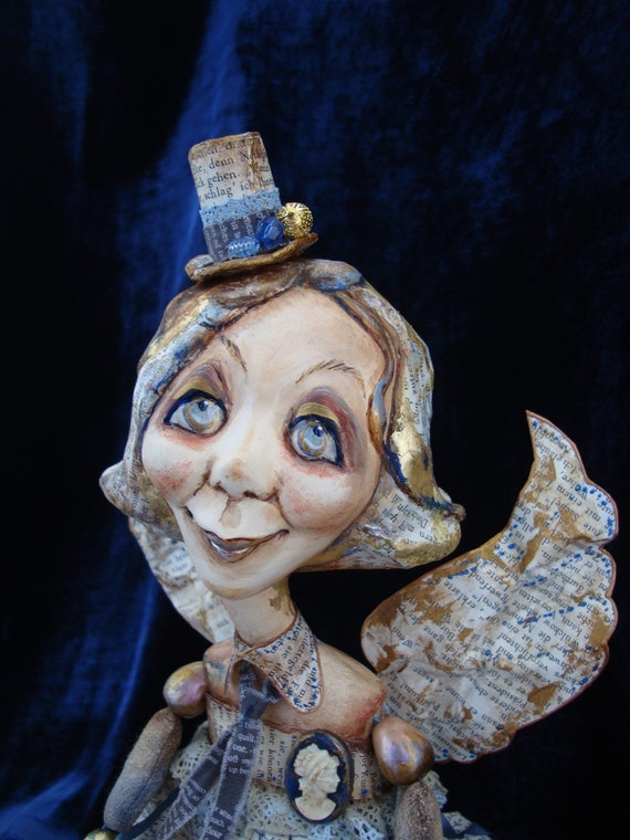 Guard angel doll as gift - Poseable interior doll - Ooak art doll in retro style - Beads-jointed doll with book pages motif