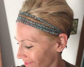 Boho Chic Crochet Headband, Hemp Headband, Women's Hair Accessories, Brown, Teal and Sequins