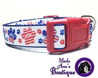 Patriotic Dog Collar / Dog Collar / Paw Print / Red / White / Blue / Adjustable Collar / Dog Collar and Leash Set / Summer / Stars / Stripes