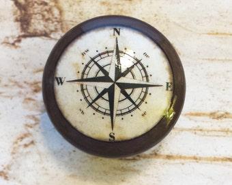 "Nautical Knob Drawer Pulls, Espresso Color, Handmade Antique Style Compass Cabinet Knobs, 1.5"" Beach Birch Dresser Knobs, Made To Order"
