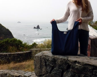 Grocery Shopping Bag of Reusable, Eco Friendly, Organic Cotton, Canvas Hand dyed in Cobalt Blue