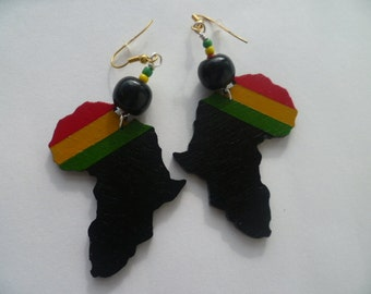 Africa Earrings- Black- Roots and Culture