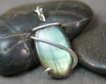 Labradorite Oval Cold Forged Sterling Silver Pendant