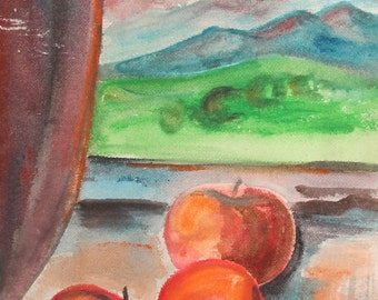 Vintage impressionist oil painting still life with apples