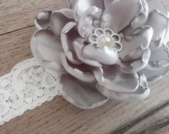 Head band with grey flower, girl, flower girl, lace, flower, photoshoot