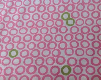 Monaluna by Robert Kaufman, Mingle pink and green circles on a white background, fabric by the yard, cut from the bolt, modern fabric