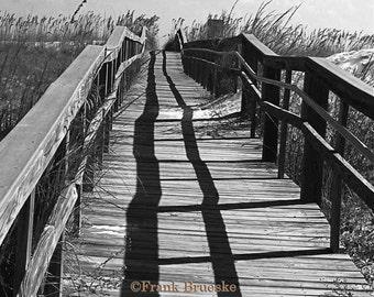 Walkway to The Beach, Pensacola Beach, Beach Scene, Black & White Fine Art, Fine Art Photography, Pensacola, Frank Brueske,