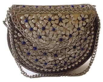 Vintage Style Royal Blue Lapis Lazuli Brass Metal Handbag