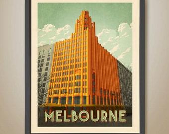 Manchester Unity Building. Art Deco Poster. Iconic Melbourne. Melbourne Architecture. Art Deco Building.