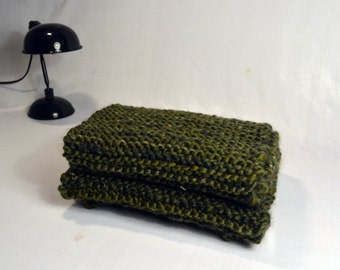 Dark green wool scarf.