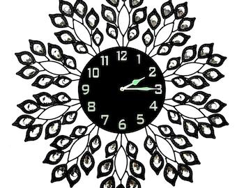 "Decorative Black Leaf Metal Wall Clock, Black Glass Dial in Arabic Numerals, Clock Diameter 25"", Glass Dial 9"" [Leaf 53ND]"