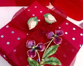 Vintage Enamel Flower Brooch and Screw Back Earrings