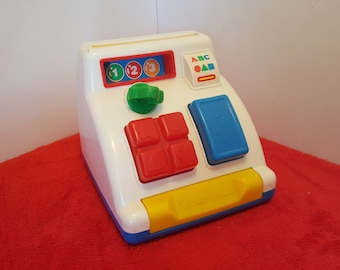 Vintage fisher price toy cash register,  toddler toy, learning toy 1992