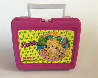 1988 Barbie Lunch Box Thermos Hollywood Pink