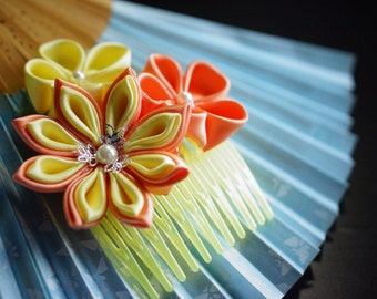Yellow kanzashi hair comb accessory