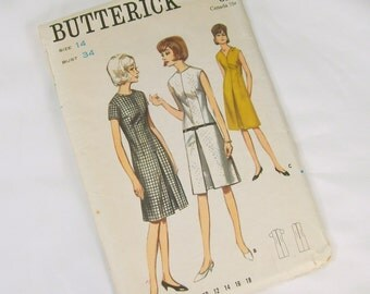 Vintage Sewing Pattern -  1960s Butterick 3817 Size 14 Bust 34 Hip 36 Inverted Pleat Front Dress Short Sleeve Sleeveless