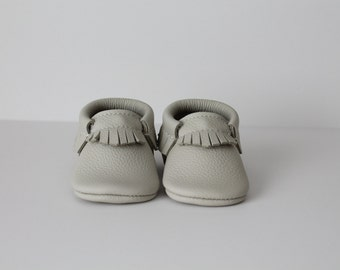 Fog (off white) Leather Baby Moccasins