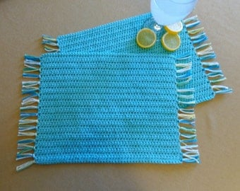 """Crocheted Placemats (10 1/2 x 13 inches) 100% Cotton, Snack Mats, Table Mats, Set of Two, Handmade, Ready to Ship, """"Seabreeze"""""""
