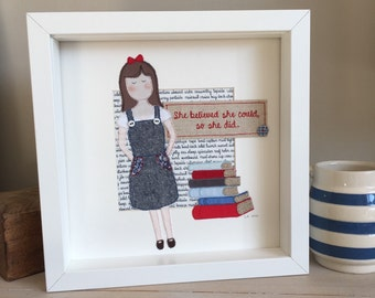 Matilda inspired stitched artwork - she believed she could