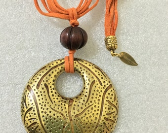 Coldwater Creek long leather orange gold brown reversible pendant necklace .Coldwater creek necklace. Coldwater creek jewelry.