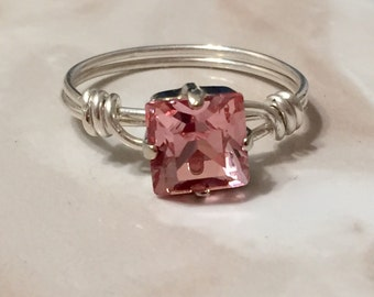 Light Pink Swarovski 8mm Square Wire Wrapped Sterling Silver Ring