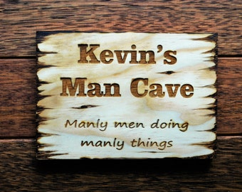 Man Cave Sign with Rope Wood Sign, sign for the man cave, man cave decor, wall sign, custom wood sign, custom made
