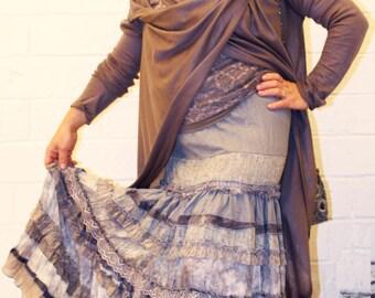 Grey handpainted silk maxi skirt in boho-chic  style.