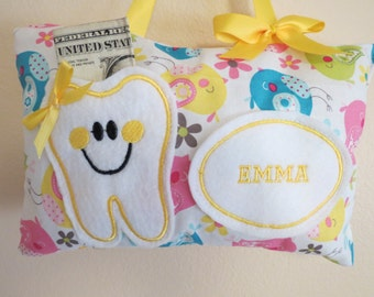Birds Tooth Fairy Pillow - Personalized - Embroidered Tooth Fairy Pillow