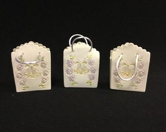 Cold Porcelain Wedding Favor Bags, Purse, Wedding Bells, Wedding, Bridal Shower (Set of Two)