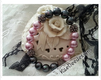 Pink and Black South Sea Pearl Bracelet