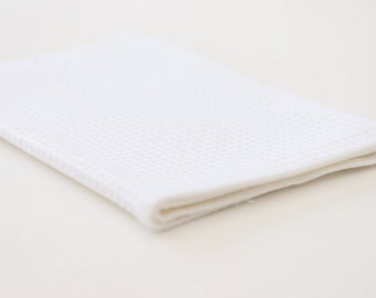 Linen Waffle Large Bath Towel in White