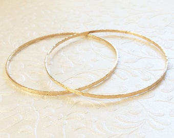 14k Gold Filled Bangles. Set of Two, 2mm Artisan-made Bangles. 14k Gold Filled or Sterling Silver Bangle. Handmade Boho Chic Bangle Bracelet