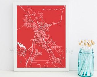 San Luis Obispo Map San Luis Obispo Art San Luis Obispo Map Art San Luis Obispo Print San Luis Obispo Printable California Art