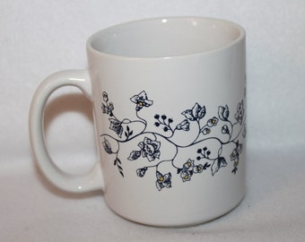 B8 Regency Club Flower Vines Coffee Cup Made In Taiwan Black on White Mug