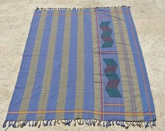 Great Cornflower Blue and Moss Green Naga Cloth, Vintage Naga Tribe Wear, Naga Tribe Textile  / 45,6''x 62''- 116 x 157,5 cm