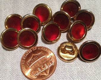 "12 Rust Red Pearlized Plastic Gold Tone Metal Shank Buttons 11.5mm 7/16"" # 7827"