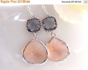 SALE Wedding Jewelry, Peach Grey Earrings, Silver, Gray, Blush, Bridesmaid Earrings, Bridesmaid Gifts,Bridesmaid Jewelry, Dangle, Wedding Gi
