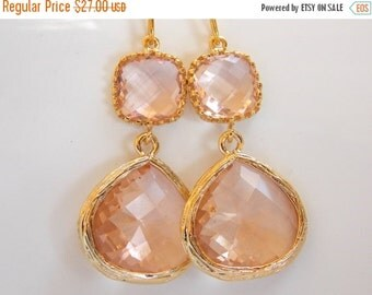 SALE Wedding Jewelry, Peach Earrings, Gold, Champagne, Blush, Bridesmaid Earrings, Bridesmaid Gifts, Bridesmaid Jewelry, Dangle, Wedding Gif
