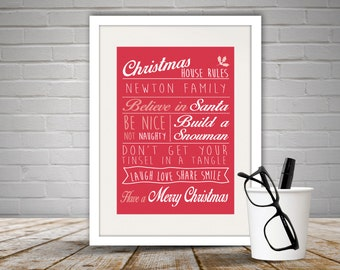 Personalised Christmas Rules Print