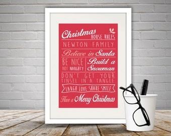 Personalised Christmas Rules Print