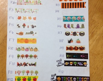 Fall & Halloween Washi Tape Samples