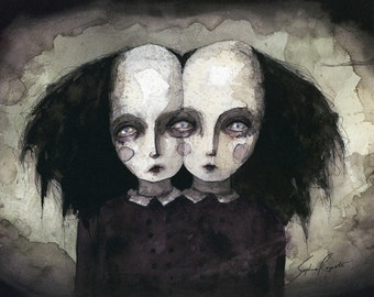 Twin Sisters (print of an original painting by Sophia Rapata)