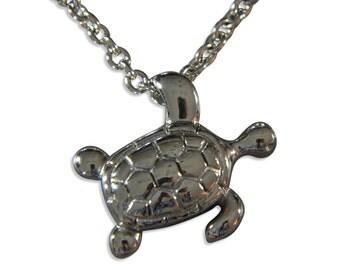 Silver Hanging Turtle Cremation Urn Necklace Secret Hidden Stash Pendant Locket Memorial Keepsake Jewelry 2155