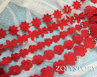 Red Lace Trim, Red Venise Lace Trim, Flower Lace Trim, Muti Designs Lace Trim(Z023)