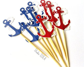 "2"" Red & Blue On White Anchor with chain Cupcake Toppers, Food Picks or CHOOSE YOUR COLORS"