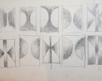 1980's Abstract Cubism Pencil Painting