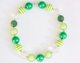 St. Patrick's Day Green bubblegum necklace - READY TO SHIP