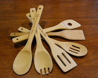Personalized Your Way! Bamboo Kitchen Utensils (Set of 6)