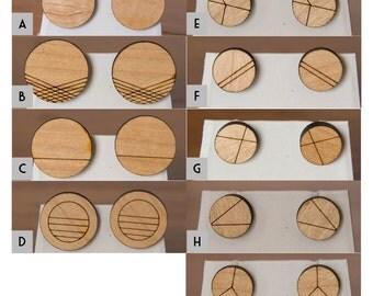 Geometric Circle wood earrings