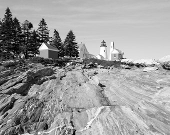 Coastal Decor, Lighthouse Photography, Landscape Photo, Maine, Pemaquid Point, Fine Art Print, Nature Photo, black and white, Nautical Decor
